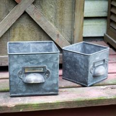 Vintage Inspired Metal Drawer Bin Set of 2