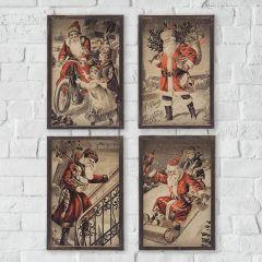 Vintage Inspired Santa Wall Art Set of 4
