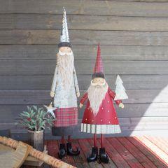 Vintage Inspired Tabletop Bearded Santa Set of 2
