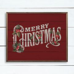Vintage Merry Christmas Red Framed Wall Sign
