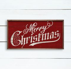 Vintage Merry Christmas Red Wall Art