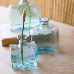 Vintage Square Glass Bud Vase Set of 3