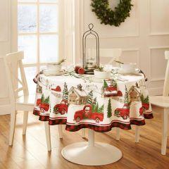 Vintage Tree Farm Tablecloth 70x70 Round