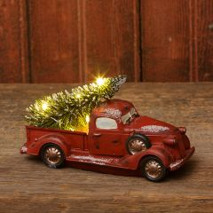 Vintage Truck With Lighted Christmas Tree Set of 2