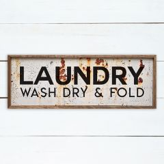 Wash Dry Fold Rusted Laundry Room Sign