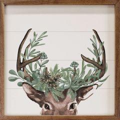 Watercolor Christmas Deer Framed Wall Art