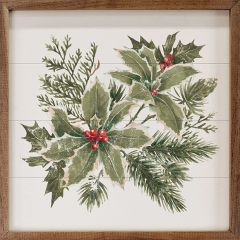 Watercolor Holly Branches Wall Art