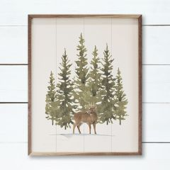 Watercolor Pines Deer Wall Art