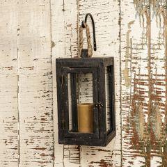 Weathered Black Wood Hanging Lantern
