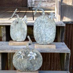 Weathered Decorative Tin Pumpkin, Set of 3