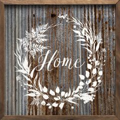 Weathered Home Wreath Wall Sign