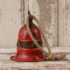 Weathered Red Bell On Rope Hanger Set of 2