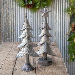 Weathered Tin Christmas Tree, Set of 2