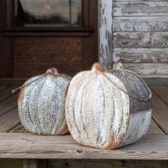Weathered Tin Pumpkin Buckets, Set of 2