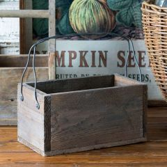 Weathered Wood Caddy With Wire Handle