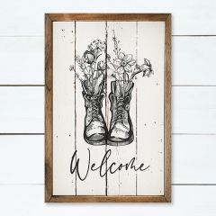 Welcome Floral Boots Framed Wall Art