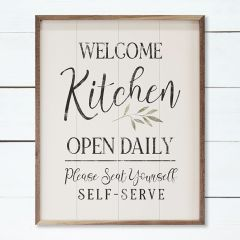 Welcome Kitchen Open Daily Greenery Whitewash Sign