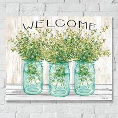 Welcome Mason Jar Floral Canvas Wall Art