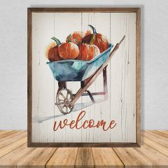 Welcome Pumpkins Wheelbarrow Fall Wall Decor