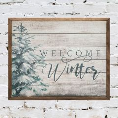 Welcome Winter Pine Whitewash Wall Sign