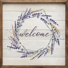 Welcome Wreath Lavender Wall Art