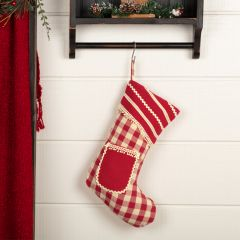 Whimsical Check Stocking With Pocket Set of 2
