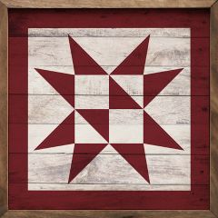 White and Red Quilt Square Art