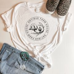 White Antique Farmhouse Logo Tee