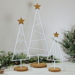White Metal Tabletop Tree With Star Set of 3