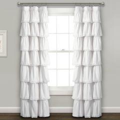 White Ruffle Curtain Panel