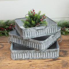 Whitewash Metal Square Nesting Trays Set of 3