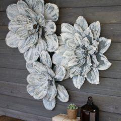 Whitewashed Metal Wall Flower Set of 3