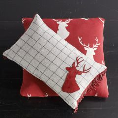 Window Plaid Rectangle Throw Pillow With Deer Silhouette