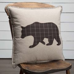 Windowpane Plaid Bear Accent Pillow