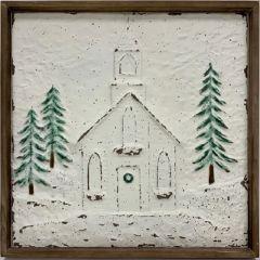 Winter Church Framed Metal Wall Decor