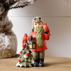 Winter Dressed Boy With Lantern Figurine