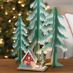 Winter Forest Tree Figurine Set of 3