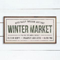 Winter Market Green Framed Sign