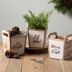 Winter Message Wood Planter Box Set of 3