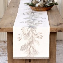 Winter Pine and Herringbone Embroidered Table Runner 72 Inch