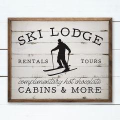 Winter Ski Lodge Ad Wall Sign