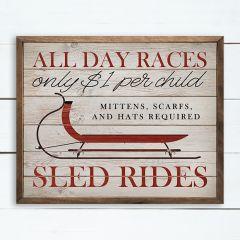 Winter Sled Rides Ad Wall Sign