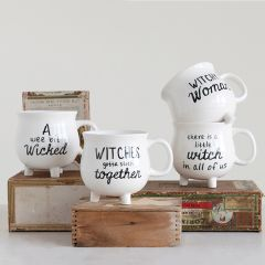 Witch Cauldron Halloween Mugs Set of 4