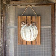 Wood and Metal Pumpkin Plaque