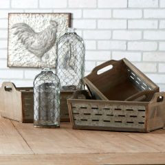 Wood and Tin Crates With Lattice Set of 3
