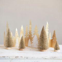 Wood Base Glittered Bottlebrush Tree Set of 4