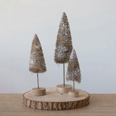 Wood Base Snowy Bottlebrush Tree