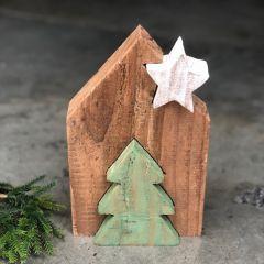 Wood Block Tabletop Christmas Decor Set of 2