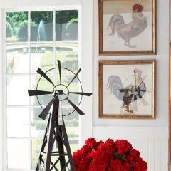 Wood Framed Farm Rooster Print Set of 2