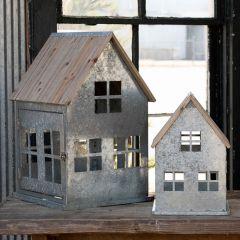 Wood Roof Metal Christmas Cottage, Set of 2